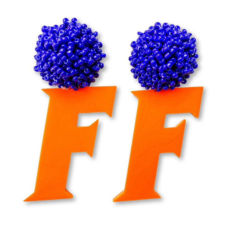 Florida Gators Block F in Orange with Blue Beaded Top