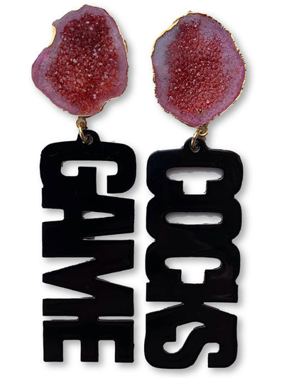 "South Carolina Black ""GAME COCKS"" Earrings with Red Geode"