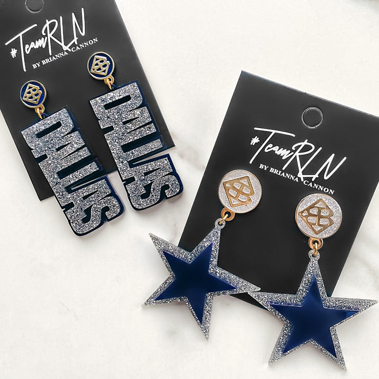 Team Colors - Navy Blue Star Earrings over Silver Glitter with Silver Glitter Large BC Logo Top