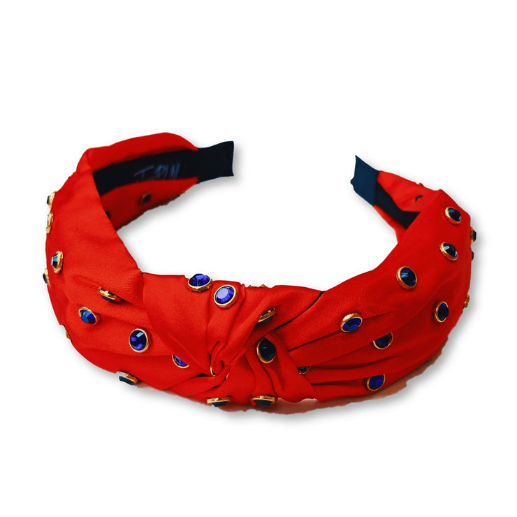 Team Colors Red Knotted Headband with Blue Crystals