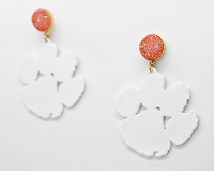 Clemson White Paw Earrings with Orange Druzy