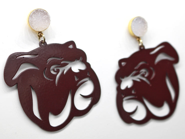 Mississippi State Maroon Bulldog Earrings with White Druzy