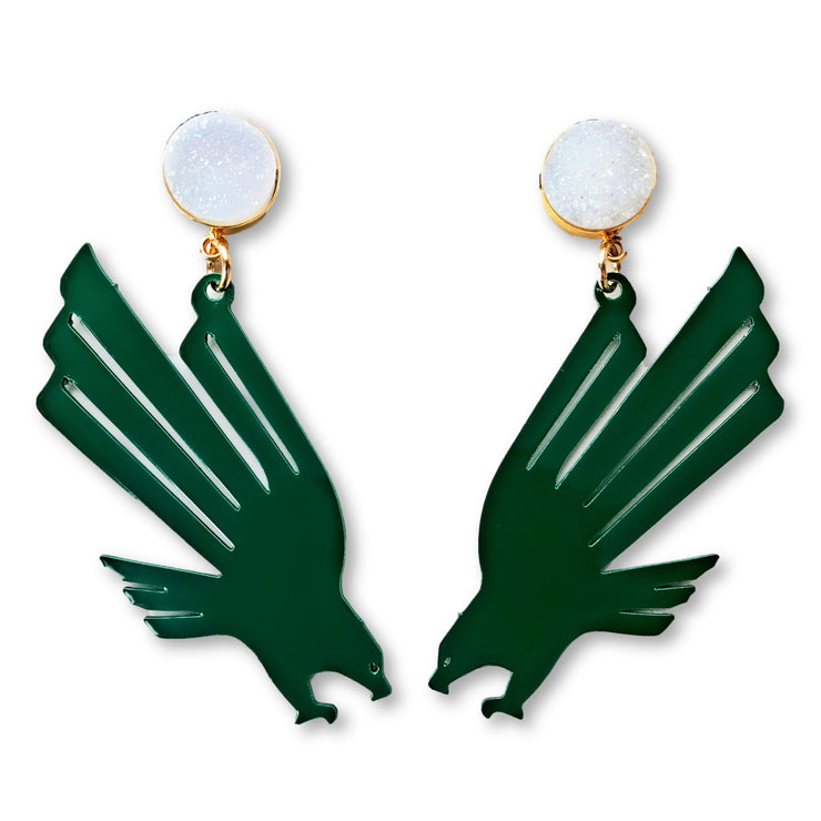 UNT Green Eagle Logo Earrings with White Druzy