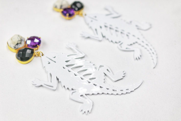 TCU White Horned Frog Earrings with 3 Gemstones