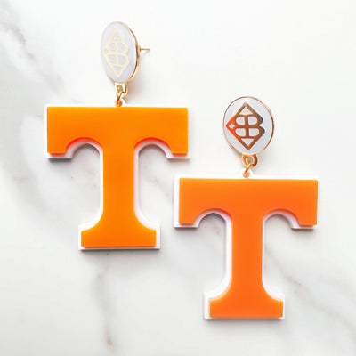 Tennessee - Orange Power T Earrings over White with Large White Logo Top