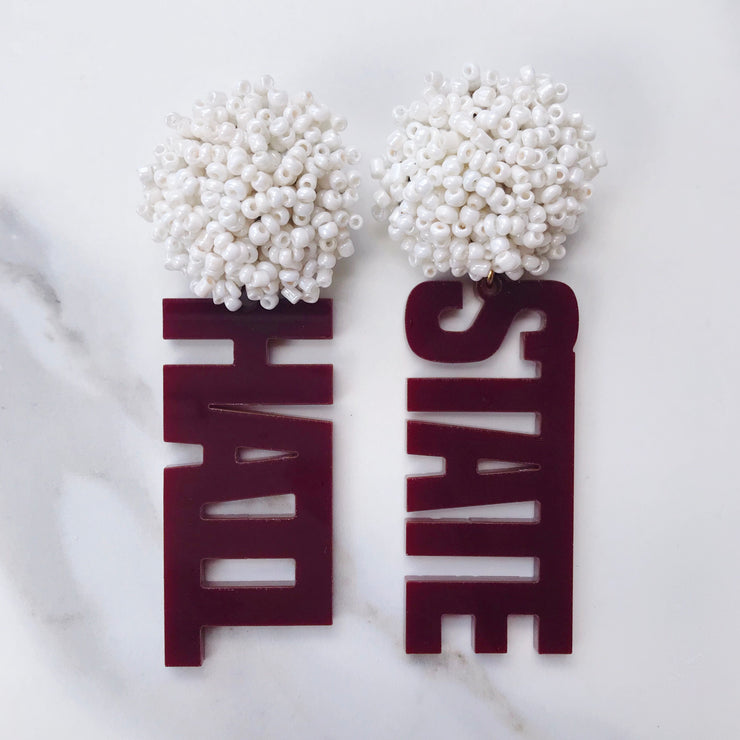 Mississippi State Maroon Acrylic HAIL STATE Earrings with White Beaded Top