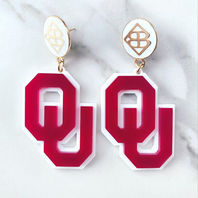 University of Oklahoma - Crimson OU Earrings over White with Large White Logo Top