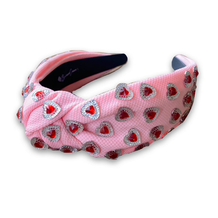 Valentine's Pink Twill Knotted Headband with Red Crystal Hearts