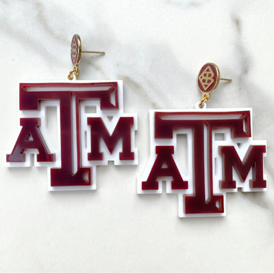 Texas A&M - Maroon TAMU Logo Earrings over White with Maroon Logo Top