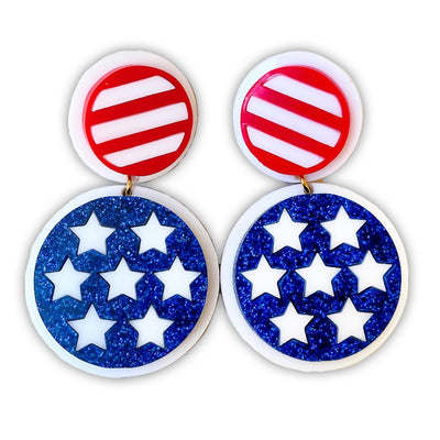 4th of July - Stars and Stripes Drop Earrings
