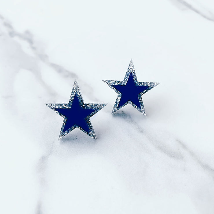 Team Colors - Silver and Blue Dallas Star Earrings