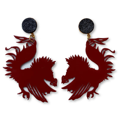 South Carolina Garnet Gamecock Earrings with Black Druzy