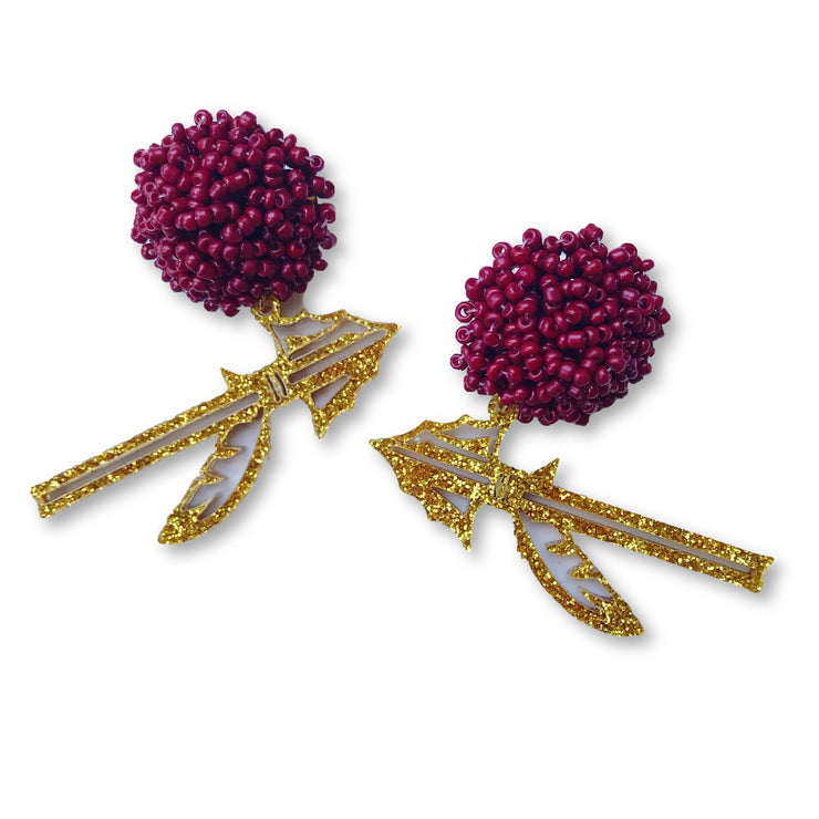 FSU Gold Glitter Acrylic Spear Earrings with Garnet Beaded Top