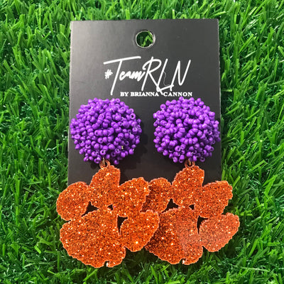 Clemson Orange Glitter Acrylic Paw with Purple Beaded Top
