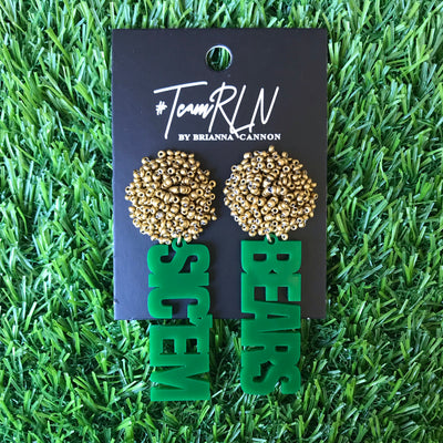 Baylor Green Acrylic SIC'EM BEARS with Gold Beaded Top