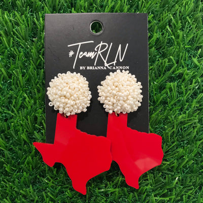 Texas Proud Red Acrylic Shape of Texas with White Beaded Top