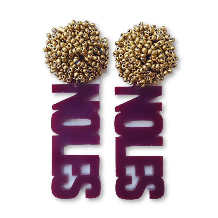 FSU Garnet Acrylic NOLES Earrings with Gold Beaded Top