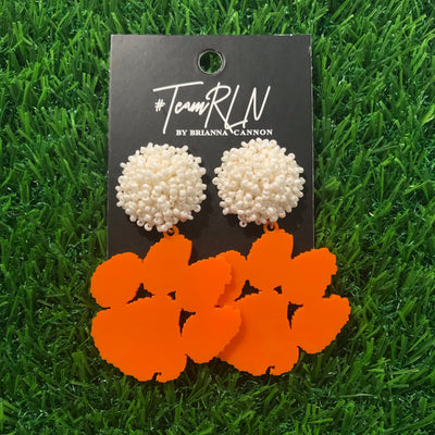 Clemson Orange Acrylic Paw with White Beaded Top