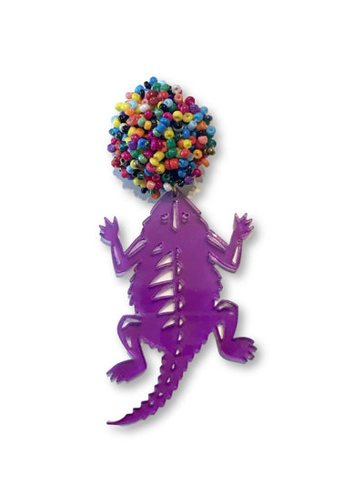 TCU Fiesta Frog in Purple Translucent Acrylic with Multicolor Beaded Top