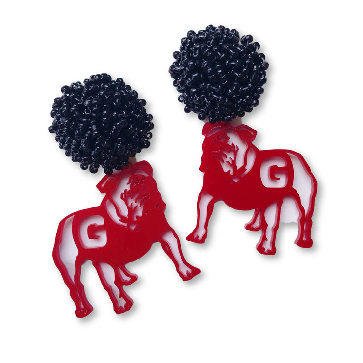 Georgia Red Acrylic Bulldog Earrings with Black Beaded Top