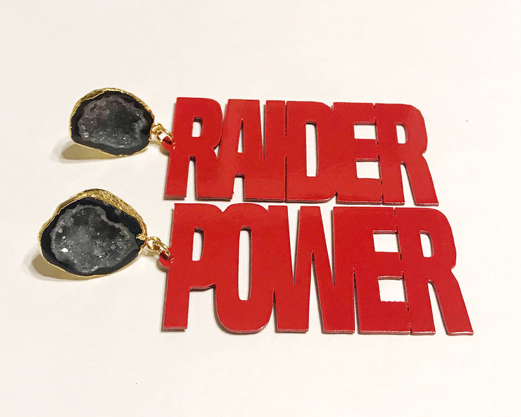 "Texas Tech Red ""RAIDER POWER"" Earrings with Black Geode"