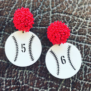 Team Colors White Acrylic Custom Baseball Earrings