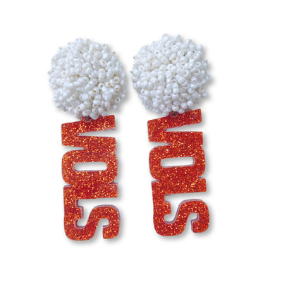 "Tennessee Glitter Orange Acrylic ""VOLS"" Earrings with White Beaded Top"