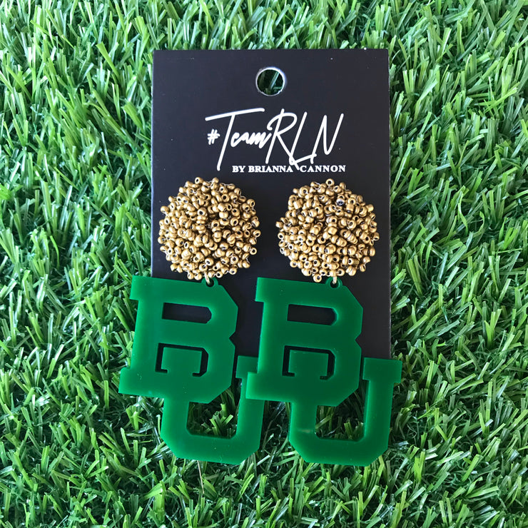 Baylor Green Acrylic BU with Gold Beaded Top