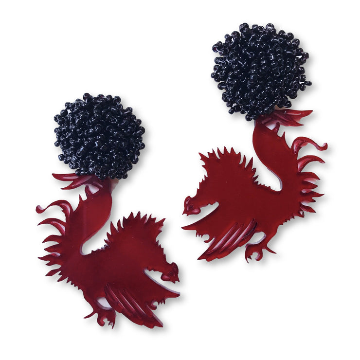 South Carolina Garnet Acrylic Gamecock Earrings with Black Beaded Top