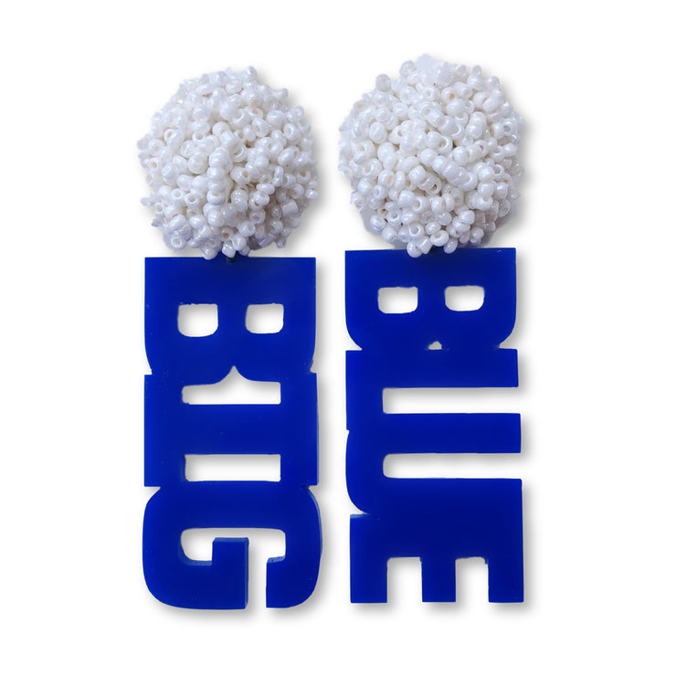 "Kentucky Blue Acrylic ""BIG BLUE"" Earrings with White Beaded Top"
