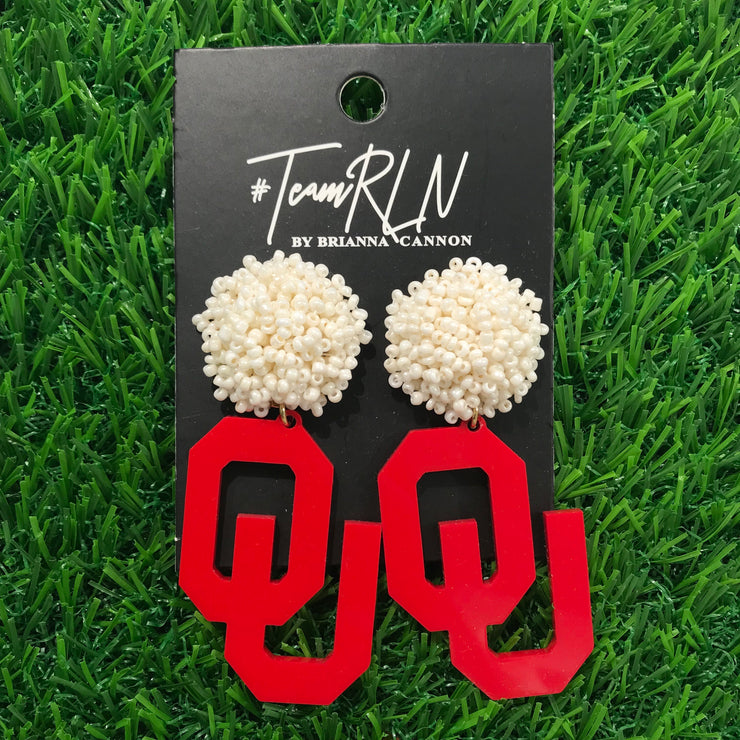 Oklahoma Crimson Acrylic OU with White Beaded Top