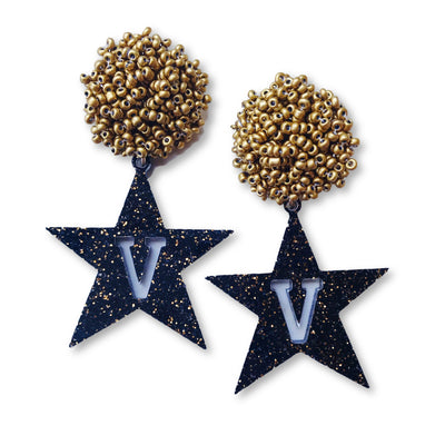Vanderbilt Black and Gold Acrylic Star Earrings with Gold Beaded Top