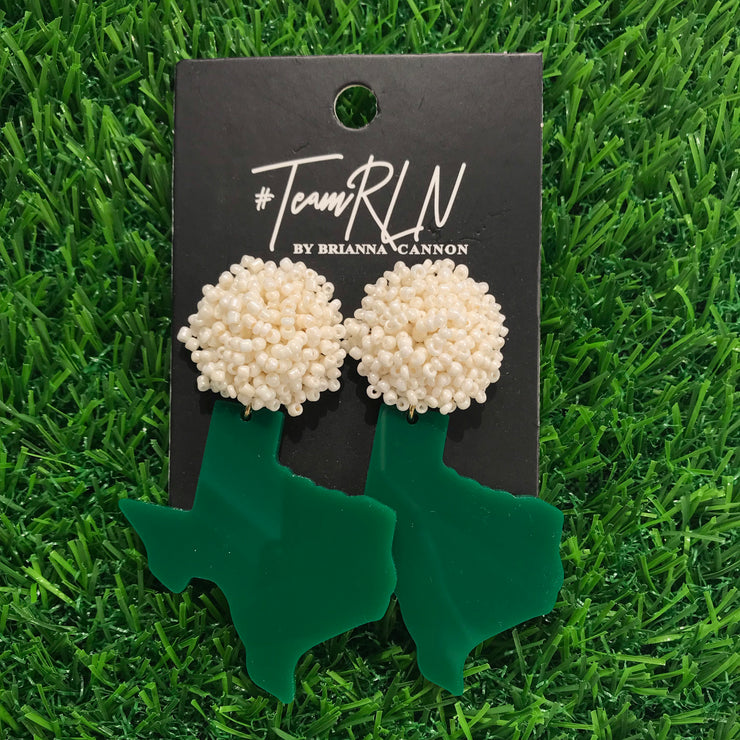 Texas Proud Green Acrylic Shape of Texas with White Beaded Top