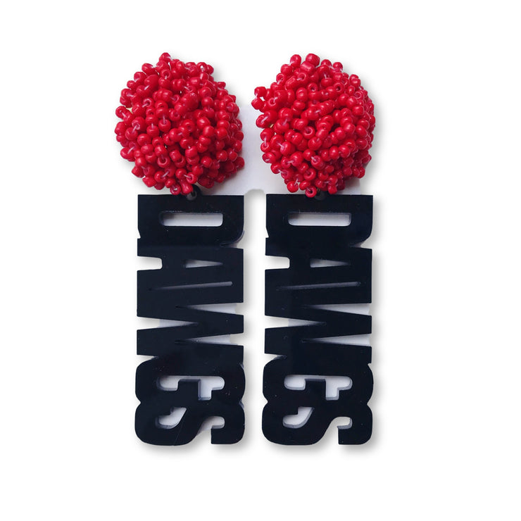 "Georgia Black Acrylic ""DAWGS"" Earrings with Red Beaded Top"
