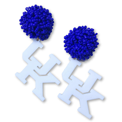 Kentucky White Acrylic UK Earrings with Blue Beaded Top