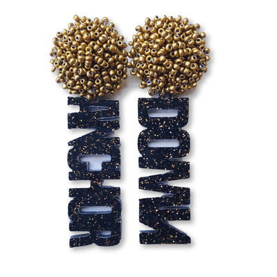 "Vanderbilt Black and Gold Acrylic ""ANCHOR DOWN"" Earrings with Gold Beaded Top"