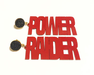 "Texas Tech Red ""RAIDER POWER"" Earrings with Black Druzy"