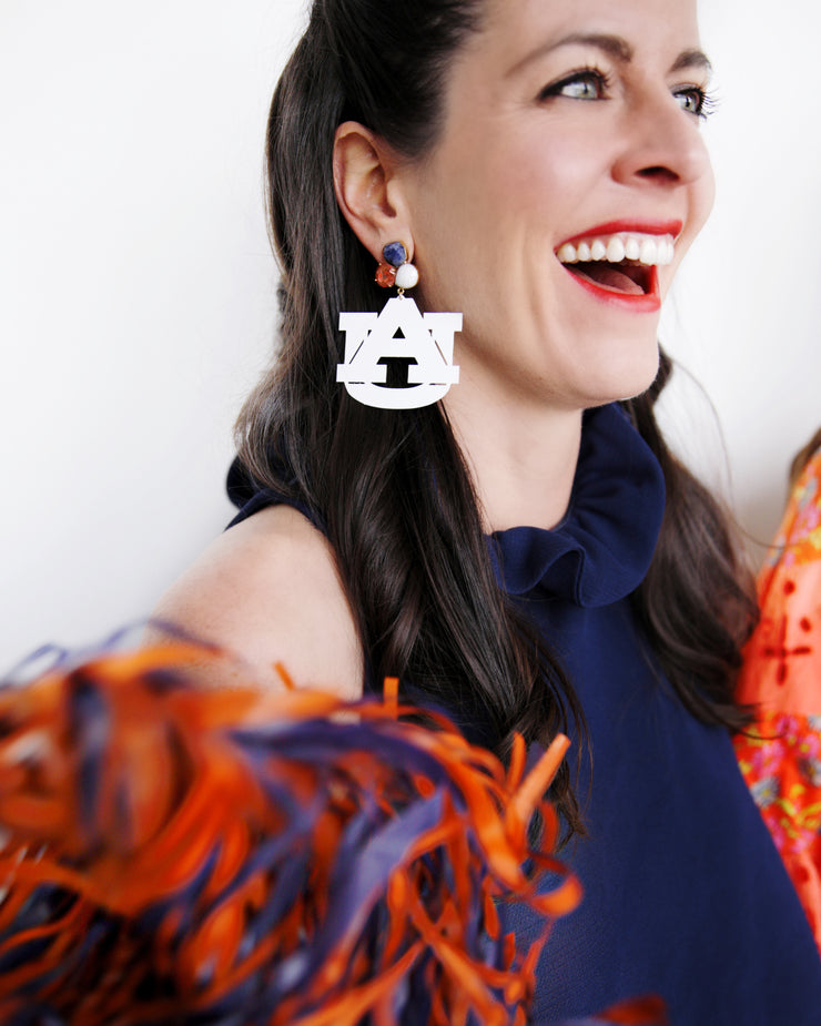 "Auburn White ""WAR EAGLE"" Earrings with 3 Gemstones"