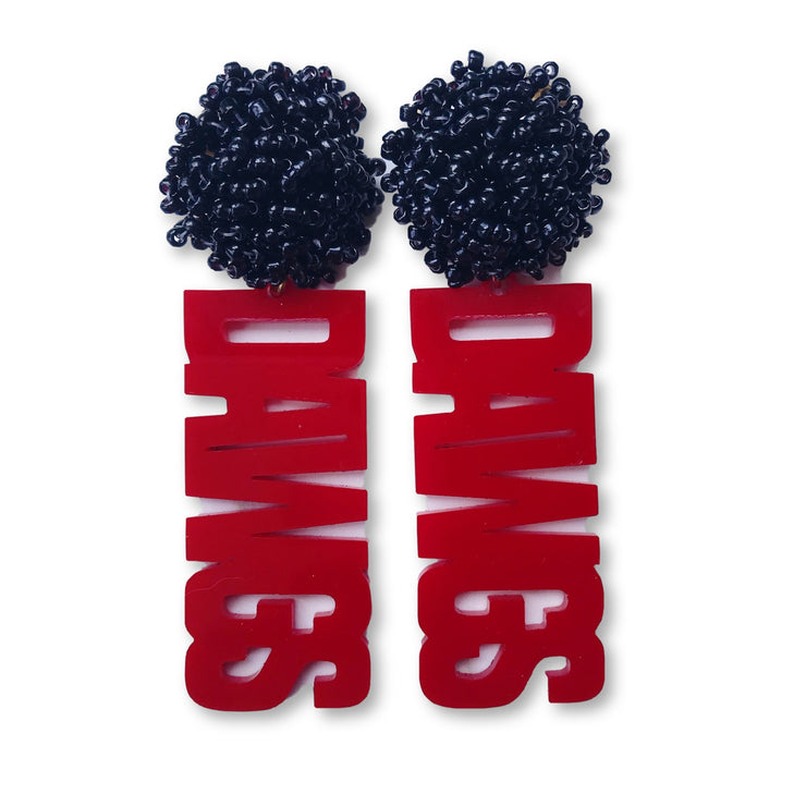 "Georgia Red Acrylic ""DAWGS"" Earrings with Black Beaded Top"