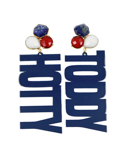 "Ole Miss Navy Blue ""HOTTY TODDY"" Earrings with 3 Gemstones"