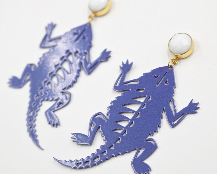 TCU Vintage Purple Horned Frog Earrings with White Agate
