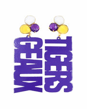 LSU Purple GEAUX TIGERS Earrings with 3 Gemstones