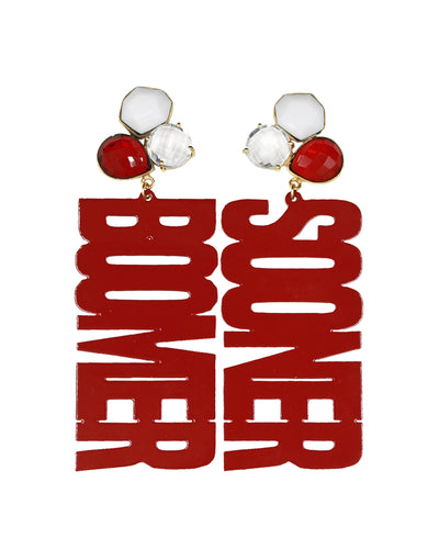 "OU Crimson ""BOOMER SOONER"" Earrings with 3 Gemstones"