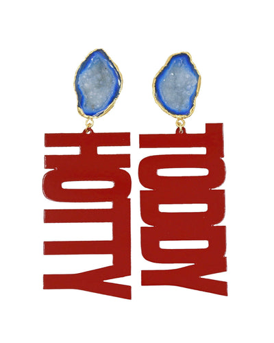 "Ole Miss Red ""HOTTY TODDY"" Earrings with Blue Geode"