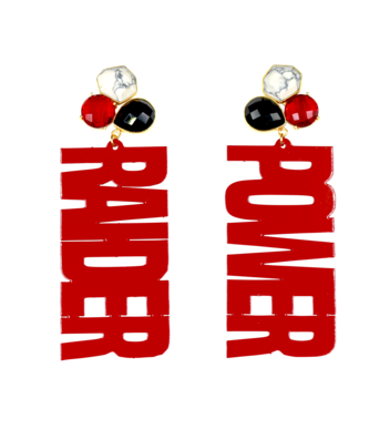 "Texas Tech Red ""RAIDER POWER"" Earrings with 3 Gemstones"