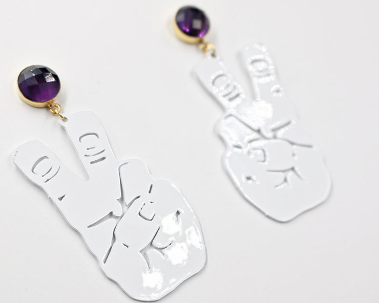 TCU Small White Knuckle Up Earrings with Amethyst