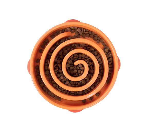 Outward Hound Fun Feeder Slo-Bowl - Orange Twirl