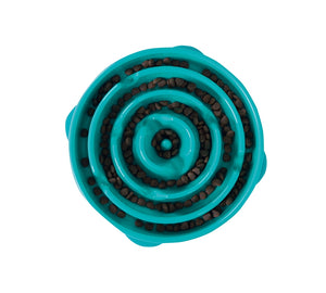 Outward Hound Fun Feeder Slo-Bowl - Teal Circles