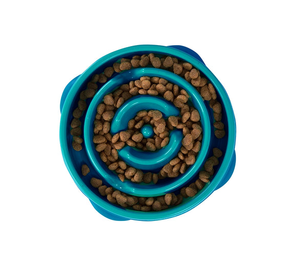 Outward Hound Fun Feeder Slo-Bowl Mini - Teal Circles