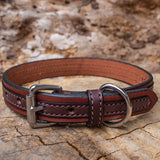 1 Inch Two Tone Chocolate Leather Collar